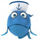 Cartoon fish in sailor hat — Stock Photo