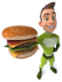 Superhero 3d with burger — Stock Photo