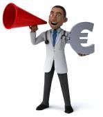 Zábavné doktor s symbol měny euro — Stock fotografie