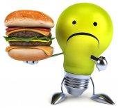 Fun light bulb with burger — Stock Photo