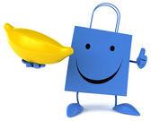 Cartoon shopping bag with banana — Foto de Stock