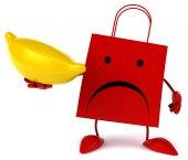 Cartoon shopping bag with banana — Stock Photo