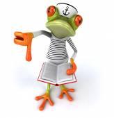 Fun frog sailor with book — Stock Photo