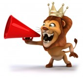 Lion with loudspeaker — Stock Photo