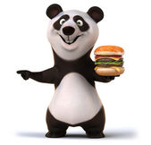 Fun panda and burger — Stock Photo