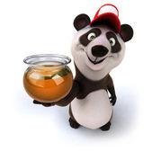 Happy panda 3d with honey — Stock Photo