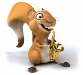 Fun squirrel with saxophone — Stock Photo