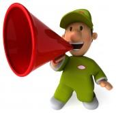 Fun worker with loudspeaker — Stock Photo