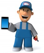 Fun worker with phone — Stockfoto