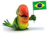 Fun parrot with flag of Brazil — Stock Photo