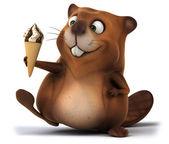 Beaver with ice cream — Stock Photo