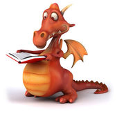 Fun dragon with book — Stockfoto