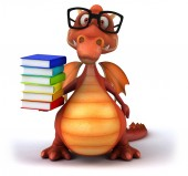 Fun dragon in glasses with books — Stockfoto