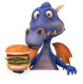 Dragon and burger — Stock Photo