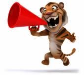 Fun tigre et haut-parleur — Photo