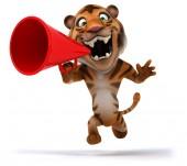 Fun tiger and loudspeaker — Stock Photo