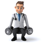 Fun doctor with weights — Stock Photo