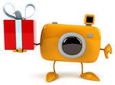 забавная камера с подарком — Стоковое фото