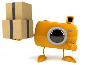 Fun camera with boxes — Foto Stock