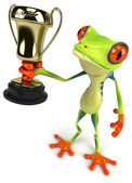 Fun frog with trophy — Stock Photo