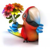 Fun parrot with flowers — Stock Photo