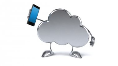 Fun cloud with phone — Stockvideo