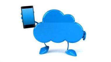 Fun cloud with phone — Stock Video