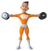 Fun superhero with weights — Stock Photo