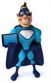 Superhero with tablet — Stock Photo