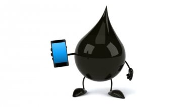 Black Oil drop with phone — Vidéo
