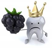 Fun tooth  with blackberry — Stock Photo