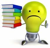 Fun light bulb with books — Stock Photo