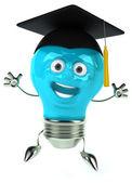 Fun light bulb in square academic cap — Foto Stock