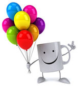 Fun mug with balloons — Stock Photo