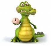 Fun crocodile with brain — Stok fotoğraf