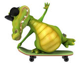 Fun crocodile on a skateboard — Stock Photo