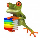 Fun frog with books — Stock Photo