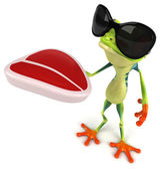 牛排的青蛙 — 图库照片