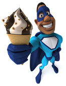 Superhero with ice cream — Stock Photo