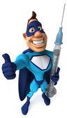 Superheld met een spuit — Stockfoto