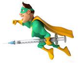 Superhero with a syringe — Stock Photo