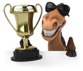 Fun horse with trophy — Stock Photo