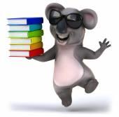 Fun koala with books — Stock Photo