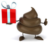 Fun poop with gift — Stock Photo