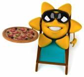 Fun Sun with pizza — Stock Photo