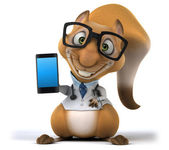 Fun squirrel doctor with smart phone — Stockfoto