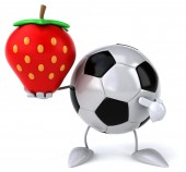Football ball with strawberry — Stock Photo