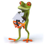 Fun frog with model of the house — Stock Photo