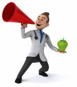 Забавный доктор с яблоком — Стоковое фото