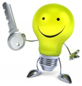 Fun light bulb with key — Stock Photo